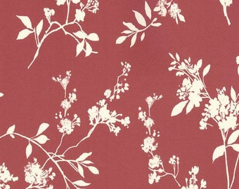 White Wildflower Botanical Toile on Cranberry Pink Wallpaper - Garden Floral, Modern, Shadow, Leaf - By The Yard -  Bf26791