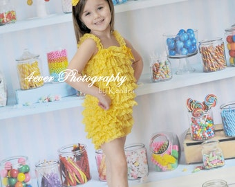 Bright Yellow Lace Petti Romper for Baby Girls and Toddlers...Ruffle Romper, Yellow Lace Romper