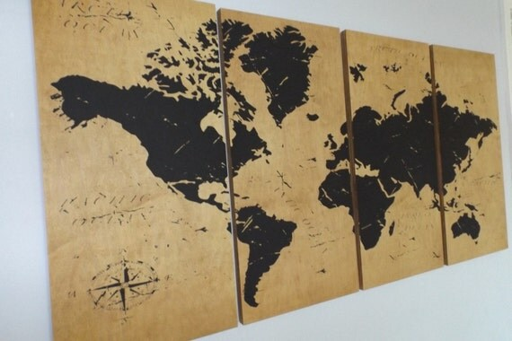Vintage WORLD MAP Large Screen Print Wood Painting Wall Art
