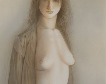 """Vintage fine art - Georges Mazilu - """"Femme Nue"""" hand signed and numbered 203/300,   size: 22 x 29.5 inch' // 56 x 75 cm'"""