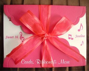 Sweet sixteen invitation, sweet 16 invitation, quinceanera invitation, music note sweet 16 invitation, birthday party, musical theme