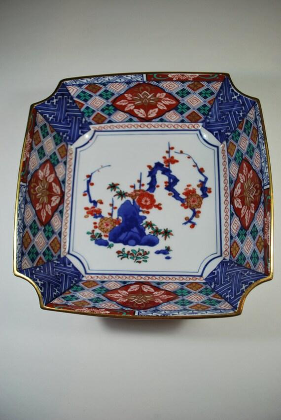 Vintage Japanese Shibata Porcelain Imari Style Square Bowl