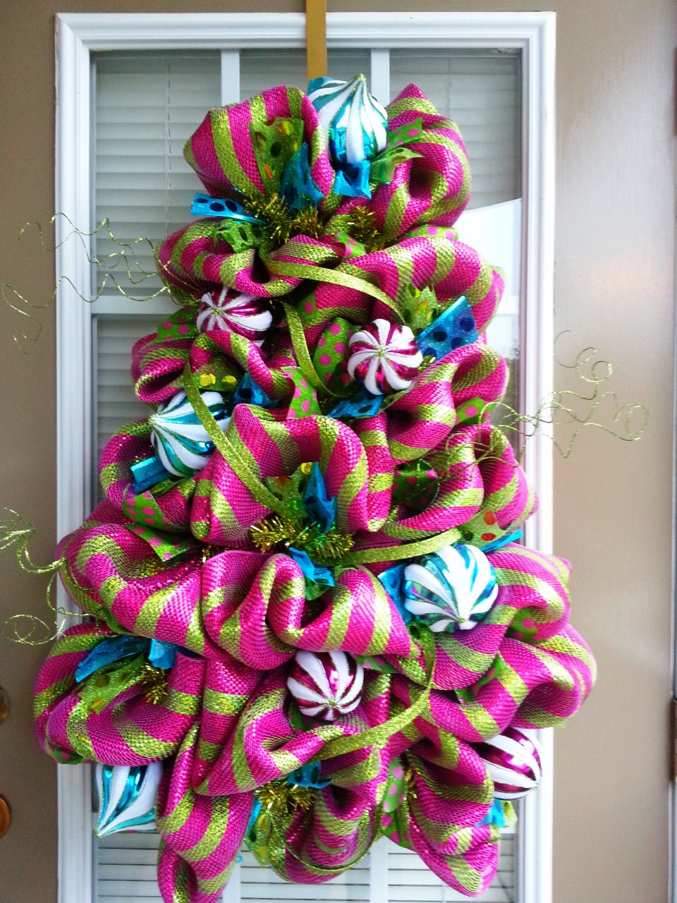 Deco Mesh Christmas Tree Shaped Door Wreath / Pink Turquoise