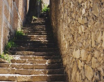 """Fine Art Photography - """"Stone Stairway"""" Landscape Photography,Architecture, Stone Stairs,Stone Walls,San Miguel, Mexico, 8x12"""
