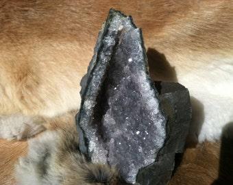Amethyst Crystal Geode Specimen with Cut Base