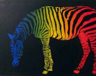 "Zebra, Monoprint, Abstract, Screen Print, ""RainZBow (4)"