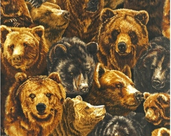 Brown Bears Fabric from Nature Studies 2 - Barbara Keith, Robert Kaufman by the Yard
