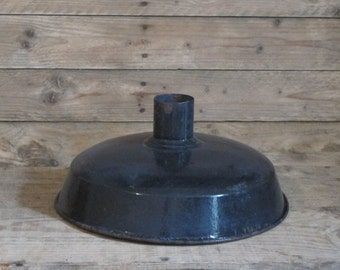 Vintage 1930s French Industrial Large Black  Enamel Lighting //  Farmhouse // enamelware lamp