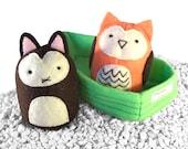 Owl and Pussycat Cat Toy Set - Organic Catnip - Eco Friendly Felt