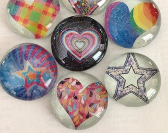 Heart glass magnets, star glass magnets, glitter glass magnet set colorful glass magnets great for Valentine's Day or Easter Baskets