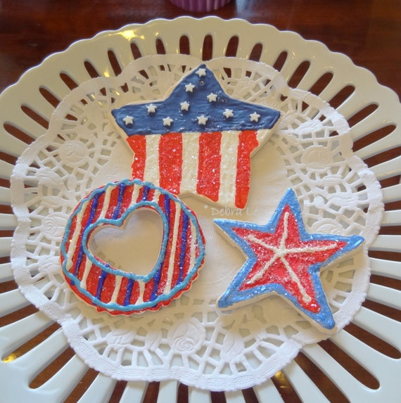SALE! Fake Cookie  Set Patriotic Americana July 4th Stars and Stripes Red White and Blue
