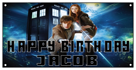Personalized birthday banner -2ft x 4 ft - Dr Who, doctor, tardis.
