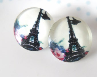 Vintage Style Eiffel Tower Stud Earrings, Cabochon, Floral, France, French, Pretty, Picture