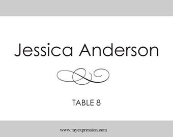 Folded Wedding Place Cards Template – Black Flourish Instant Download - Editable MS Word File