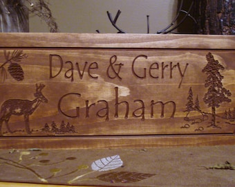 Personalized Cabin Sign, Family Last Name, Welcome Sign, Pine Tree, Deer, Primitive wood, carved Sign, Wooden Carved Cabin Plaque, Doe, Buck