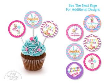 INSTANT DOWNLOAD Sweet Shoppe Cupcake Toppers, Candyland, Bubble Gum, Lalaloopsy, Cupcake, Sweet Shop, Lollipop, Girl Birthday, Girl Party