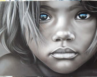 """Boy face painting oil painting on canvas 32""""X48"""""""