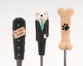 Dog Lover Serving Cutlery Set Black White Spoon Fork Knife Man Artwork Gift Unique Polymer clay Utensil Set