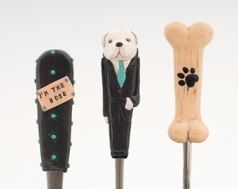 dog head on cutlery big bone black white gift for petlovers original pet gift adult