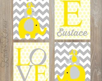 ELEPHANT NURSERY ART - Nursery Wall Art, Elephant Wall Art, Elephant Art, Elephant Decor, Yellow Gray Nursery, Playroom wall art, Baby Name
