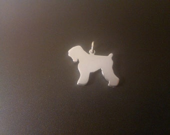 Black russian terrier dog silhouette Sterling Silver pendant with or without tail