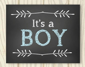 It's A Boy Chalkboard Sign - 16x20 - INSTANT DOWNLOAD