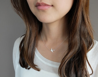 Wren (Silver) - simple & sweet sterling silver bird necklace