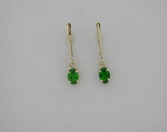 Genuine Chrume Diopside Dangle Earrings Solid 14kt Yellow Gold