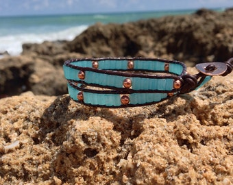 Leather Turquoise Bracelet, Leather Wrap Bracelet, Turquoise Wrap Bracelet, Brown Leather Bracelet, Leather Bracelet