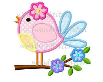 Flower bird on flower tree applique machine embroidery digital patern