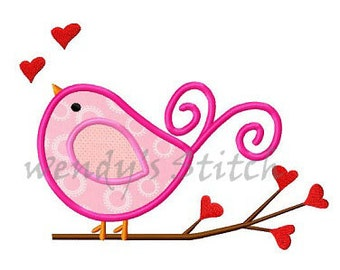 Valentine love bird applique machine embroidery digital design