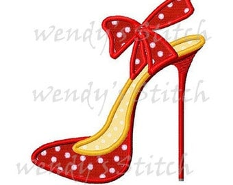 Fashion high heel applique machine embroidery design