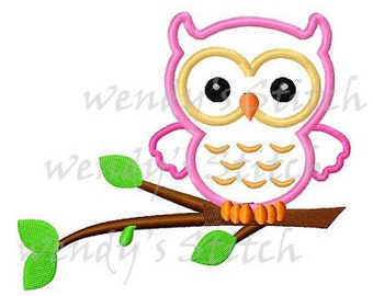instant download Owl on a tree applique machine embroidery design