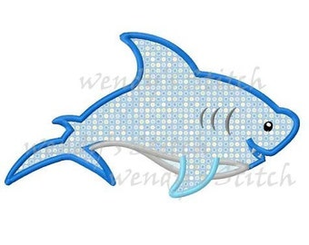 Shark applique machine embroidery design digital pattern