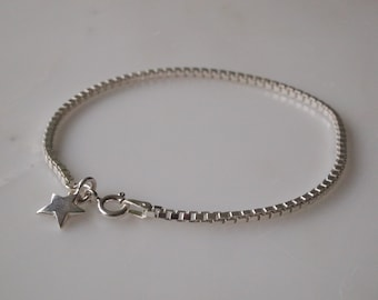 Personalised Silver Star Bracelet- Box Chain Sterling Silver Star Bracelet - Silver Bracelet