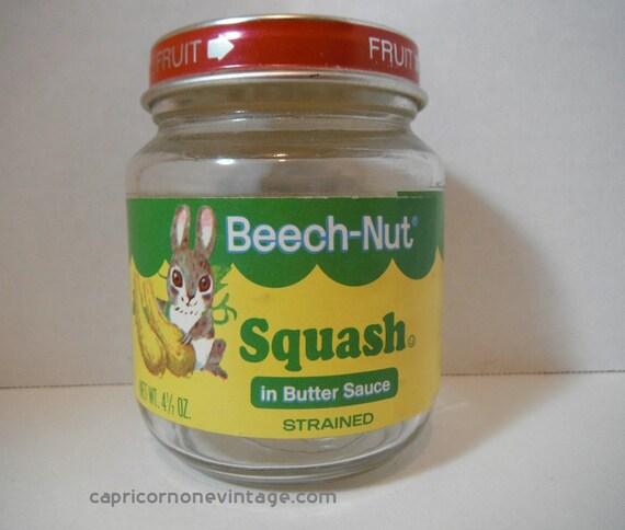 Vintage 1970s Beech Nut Baby Food Jar Squash In Butter Sauce