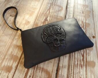 clutch leather zipper-zipper pouch
