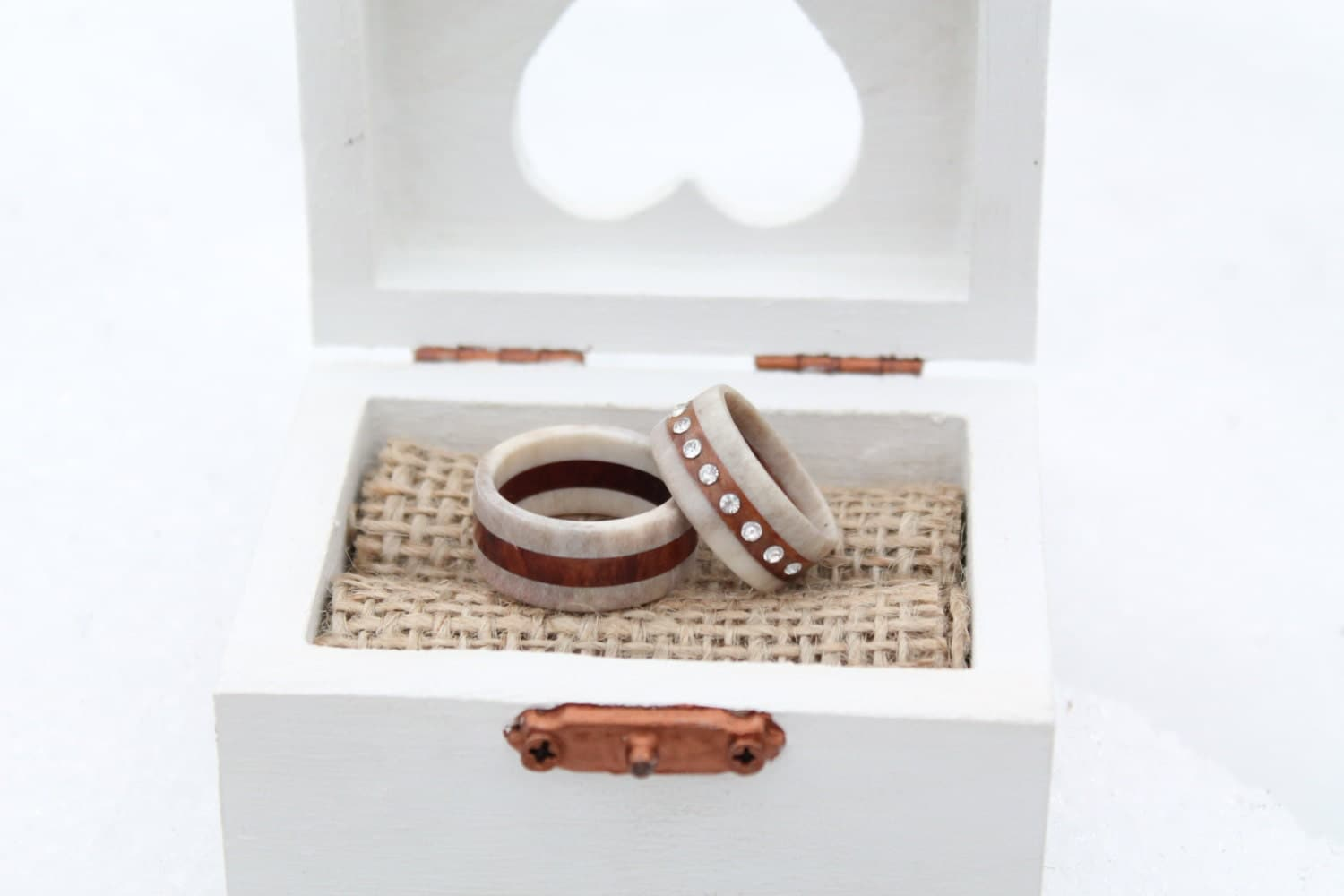 swedish wedding ring wood antler wedding ring set by