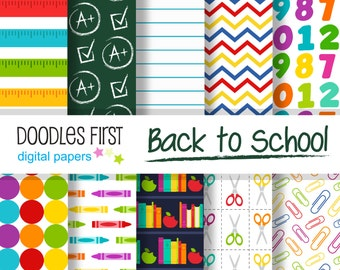 Back to School Digital Paper Pack Includes 10 for Scrapbooking Paper Crafts