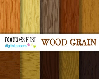 Wood Grain Digital Paper Pack Includes 10 for Scrapbooking Paper Crafts