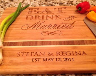 "Wedding Personalized Cutting Board, Eat Drink and be Married  Engraved Caribbean inlay 11""x15"" Bamboo, great wedding gift, anniversary"