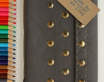 Hand bound notebook, Recycled leather diary, Leather handmade notebook, Stud decorative detail