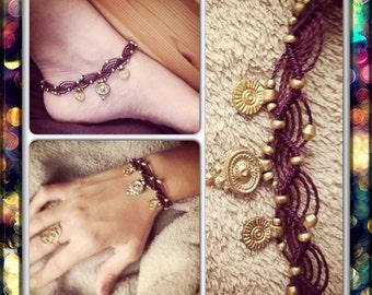 Multi arm/ankle/hand MACRAME bracelet with brass beads, arm band native american bohemian bracelet