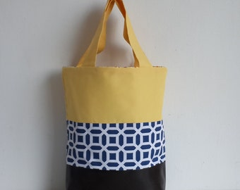Yellow, Blue and Brown Canvas and Veggie Leather Large Tote bag