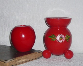 Red Candle Holders Sweden Scandinavian Modern Wooden Round Candle Holders Set of 2