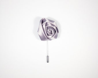 Silver Satin Men's Lapel Flower, Wonderful Depth Made In The USA Ideal Gift For Dad Brother Husband