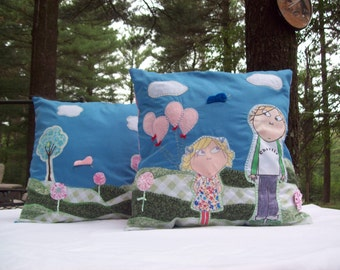 Customer's Choice/Handmade Quilted Decorator Throw Pillow/You Choose Character/Design/Colors/Theme/Size/Custom Pillow/Charlie and Lola Th