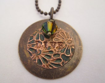 "Rustic Brass and Green Patina Copper ""Live"" Necklace"