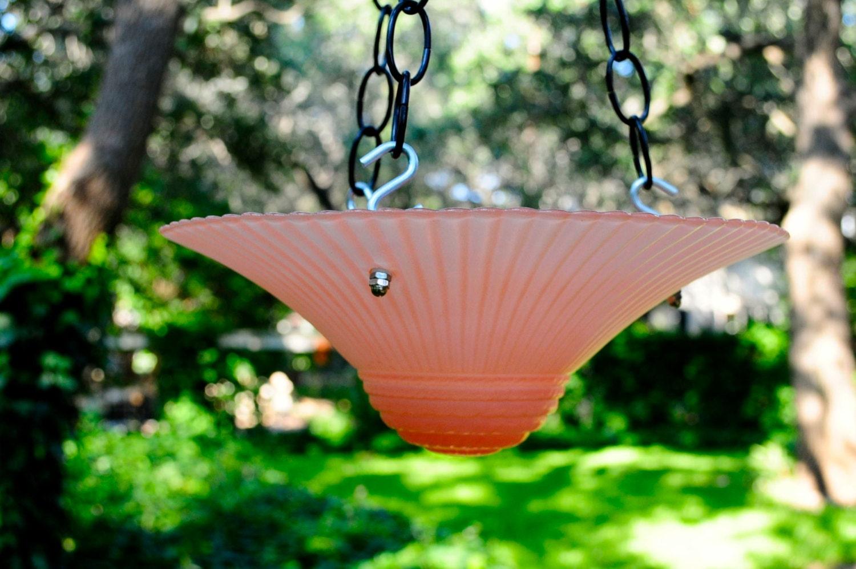 Hanging Bird Feeder Pink Glass Bird Bath Garden Wedding