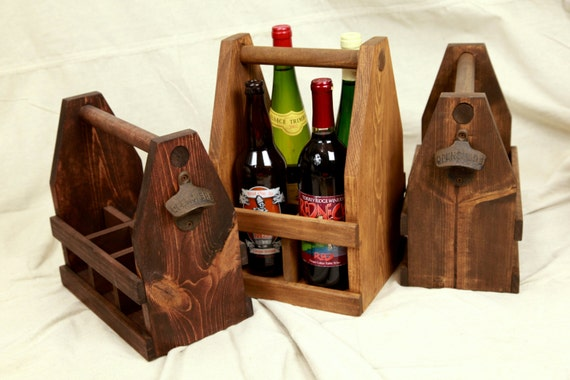 22oz Bomber Beer, Wine and Liquor Caddy, Rustic Wooden Tote, Wedding Gift